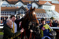 Noel Fehily and Get In The Queue return after winning The Goffs UK Spring Sale Bumper Race run during Be Wiser Jumps Season Finale Saturday at Newbury Racecourse, Newbury.