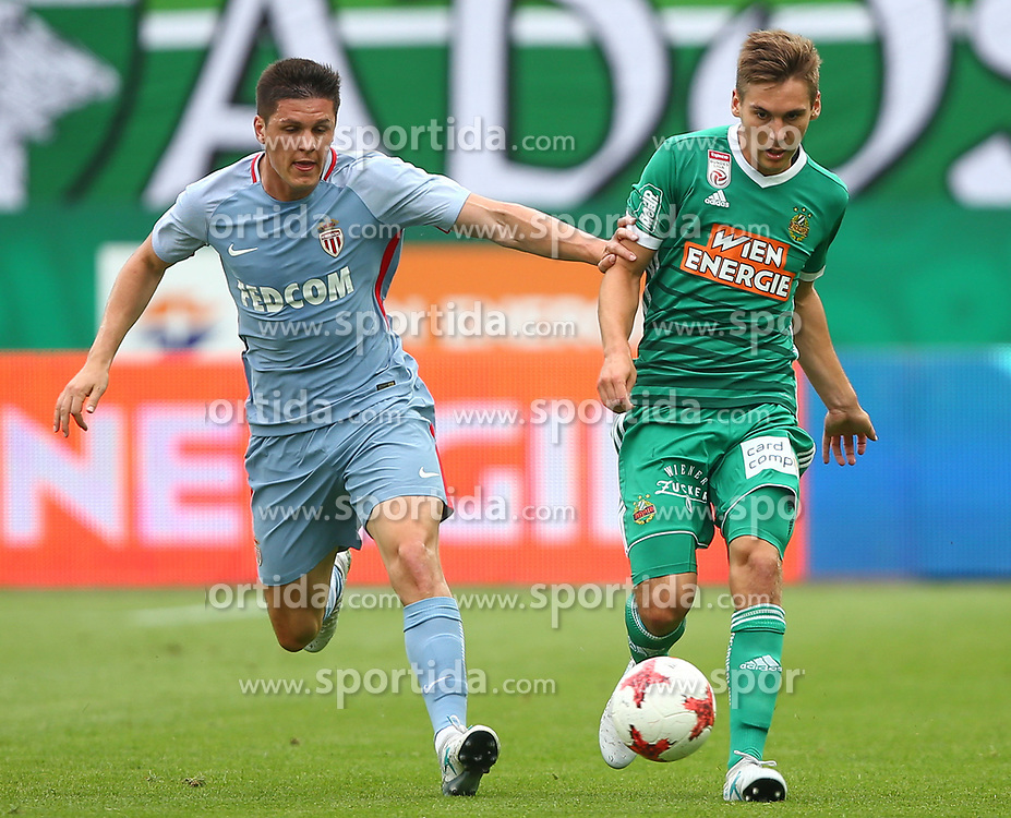 09.07.2017, Allianz Stadion, Wien, AUT, Testspiel, SK Rapid Wien vs AS Monaco, im Bild Guido Carrillo (AS Monaco) und Maximilian Woeber (SK Rapid Wien) // during friendly Football Bundesliga Match, between SK Rapid Vienna and AS Monaco at the Allianz Arena, Vienna, Austria on 2017/07/09. EXPA Pictures © 2017, PhotoCredit: EXPA/ Thomas Haumer