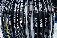 KELOWNA, CANADA - OCTOBER 31: Kelowna Rockets hockey sticks stand on the bench on October 31, 2015 at Prospera Place in Kelowna, British Columbia, Canada.  (Photo by Marissa Baecker/Shoot the Breeze)  *** Local Caption *** sticks;