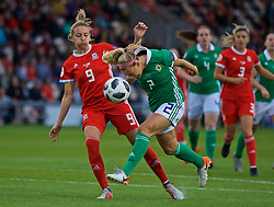 NEWPORT, WALES - Tuesday, September 3, 2019: Wales' Kayleigh Green (L) and Northern Ireland's Rachel Newborough during the UEFA Women Euro 2021 Qualifying Group C match between Wales and Northern Ireland at Rodney Parade. (Pic by David Rawcliffe/Propaganda)