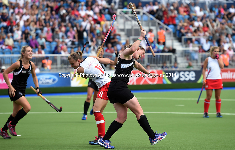 Katie Glynn celebrates a late goal during a Black Sticks Women v England Semi Final match at the Glasgow National Hockey Stadium. Glasgow Commonwealth Games 2014. Friday 1 August 2014. Scotland. Photo: Andrew Cornaga/www.Photosport.co.nz