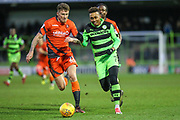 Forest Green Rovers Keanu Marsh-Brown(7) runs forward during the EFL Sky Bet League 2 match between Forest Green Rovers and Wycombe Wanderers at the New Lawn, Forest Green, United Kingdom on 1 January 2018. Photo by Shane Healey.