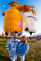 Zebras (official launch directors who coordinate the up to 600 balloons that launch daily during the balloon festival), Albuquerque International Balloon Fiesta, Albuquerque, New Mexico USA.