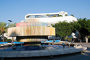 Israel, Tel Aviv The Kinetic fire and water fountain by Yaacov Agam at Dizengoff square. Cinema Hotel in the background