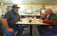 Donald Pauley (from left) and his wife Merrie Jo Pauley of Thomson talk after eating supper at Sunrise Family Restaurant in Thomson, Illinois on Monday November 16, 2009. Merrie Jo is the former mayor of Thomson. (Stephen Mally for The New York Times)