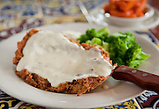 "8-18-10 --- Chicken Fried Steak with broccoli, ""killer"" mashed potatoes, and honey glazed carrots at AllGood Cafe"