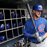 NEW YORK, NEW YORK - July 03: Kris Bryant #17 of the Chicago Cubs in the dugout preparing to bat during the Chicago Cubs Vs New York Mets regular season MLB game at Citi Field on July 03, 2016 in New York City. (Photo by Tim Clayton/Corbis via Getty Images)