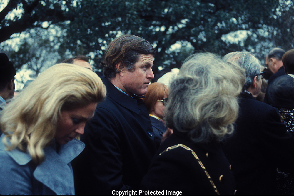 Johnson City, TX, 1973/03/01 Senator Edward Kennedy andf wife Joan at the  funeral of  President Johnson in March 1973<br />