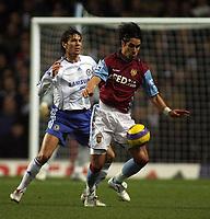 Photo: Paul Thomas.<br /> Aston Villa v Chelsea. The Barclays Premiership. 02/01/2007.<br /> <br /> Khalid Boulahrouz of Chelsea tries to tackle Juan Pablo Angel (R).