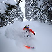 Tigger Knecht skiing blower storm powder at Jackson Hole Mountain Resort.