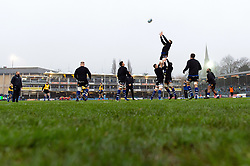 The Bath Rugby forwards practise their lineout during the pre-match warm-up - Mandatory byline: Patrick Khachfe/JMP - 07966 386802 - 25/01/2020 - RUGBY UNION - The Recreation Ground - Bath, England - Bath Rugby v Leicester Tigers - Gallagher Premiership