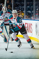 KELOWNA, CANADA - JANUARY 10: Wil Kushniryk #14 of the Kelowna Rockets warms up with the puck against the Spokane Chiefs on January 10, 2017 at Prospera Place in Kelowna, British Columbia, Canada.  (Photo by Marissa Baecker/Shoot the Breeze)  *** Local Caption ***