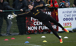 March 23, 2018 - Tubize, BELGIUM - Belgium's goalkeeper Koen Casteels fights for the ball during a training of Belgian national soccer team the Red Devils, during preparations for the friendly game between the Red Devils and Saudi Arabia, in Tubize, Friday 23 March 2018. BELGA PHOTO VIRGINIE LEFOUR (Credit Image: © Virginie Lefour/Belga via ZUMA Press)