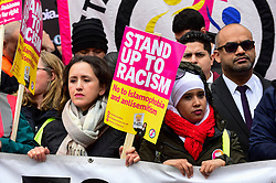 © Licensed to London News Pictures. 16/03/2019. LONDON, UK. People carry signs at the head of the march. Thousands of people take part in a Stand Up To Racism and Stand Up To Islamophobia march through the capital.  Photo credit: Stephen Chung/LNP