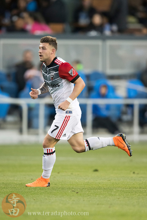 May 19, 2018; San Jose, CA, USA; D.C. United forward Paul Arriola (7) during the first half against the San Jose Earthquakes at Avaya Stadium.