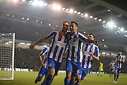 Brighton & Hove Albion centre forward Glenn Murray (17) scores a goal 1-0 and celebrates with Brighton & Hove Albion centre forward Sam Baldock (9) during the EFL Sky Bet Championship match between Brighton and Hove Albion and Leeds United at the American Express Community Stadium, Brighton and Hove, England on 9 December 2016.
