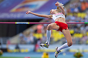 Justyna Kasprzycka from Poland competes in women's high jump final during the 14th IAAF World Athletics Championships at the Luzhniki stadium in Moscow on August 17, 2013.<br /> <br /> Russian Federation, Moscow, August 17, 2013<br /> <br /> Picture also available in RAW (NEF) or TIFF format on special request.<br /> <br /> For editorial use only. Any commercial or promotional use requires permission.<br /> <br /> Mandatory credit:<br /> Photo by &copy; Adam Nurkiewicz / Mediasport
