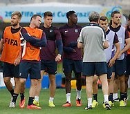 L-R Luke Shaw, Wayne Rooney, Ross Barkley, Danny Welbeck, Roy Hodgson, Jack Wilshere and Jordan Henderson  during the England training session the day before their final Group D match against Costa Rica at Mineirão, Belo Horizonte, Brazil. <br /> Picture by Andrew Tobin/Focus Images Ltd +44 7710 761829<br /> 23/06/2014