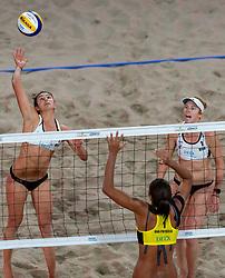 06-01-2019 NED: Dela Beach Open, Den Haag<br /> Brazil Ana Patricia Silva Ramos #1 BRA/ Rebecca Cavalcanti Barbosa Silva #2 BRA win the bronze medal /  Kelly Claes #1 USA/ Sarah Sponcil #2 USA