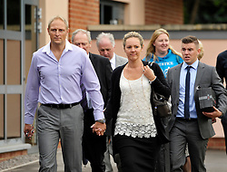 © Licensed to London News Pictures. 25/07/2013. Bulford, Wiltshire, UK.  Sergeant Danny Nightingale and his wife Sally at the Military Court Centre in Bulford Camp to hear his sentence.  Sergeant Nightingale is a former SAS sniper who has been convicted on a retrial for illegal possession of a Glock handgun and ammunition, which was found in his possessions in the UK.  His previous case was quashed on appeal.  25 July 2013.<br /> Photo credit : Simon Chapman/LNP