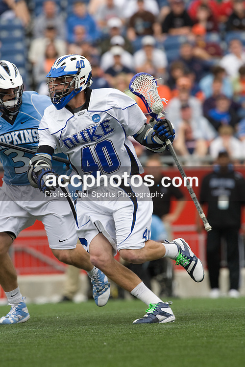 24 May 2008: Duke Blue Devils attackman Matt Danowski (40) during a 9-10 loss to the Johns Hopkins Blue Jays at Gillette Stadium during the NCAA Semifinals in Foxborough, MA.
