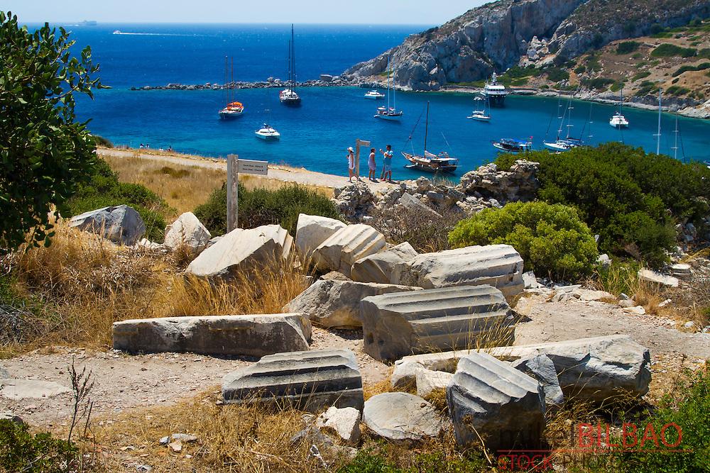 Knidos ancient Greek city ruins.<br /> Datca peninsula, Mugla province, Turkey.