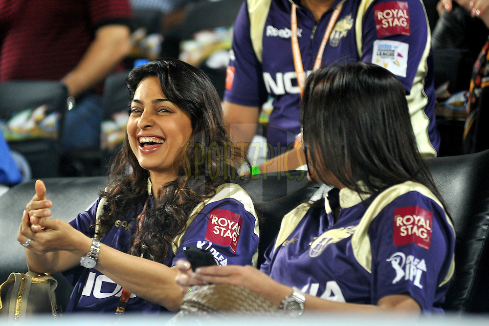 Juhi Chawla Co- owner of KKR  during the CLT20 - Q6 match between Kolkata Knight Riders and Somerset held at the Rajiv Gandhi International Stadium, Hyderabad on the 21st September 2011..Photo by Pal Pillai/BCCI/SPORTZPICS