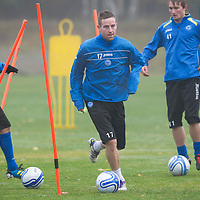 St Johnstone Training....01.11.12<br /> Steven MacLean pictured during a foggy training session at McDiarmid Park this morning<br /> Copyright Perthshire Picture Agency<br /> Tel: 01738 623350  Mobile: 07990 594431