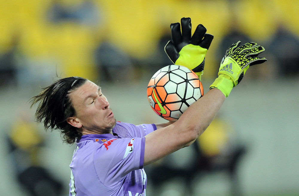 Adelaide United's goalie John Hall makes against  save against th Phoenix in the A-League football match at Westpac Stadium, Wellington, New Zealand, Friday, November 13, 2015. Credit:SNPA / Ross Setford
