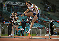 JOHANNESBURG, SOUTH AFRICA - MARCH 22: Taylon Bieldt clears the last hurdle in the women's 100m hurdles during the ASA Speed Series 4 at Germiston Stadium on March 22, 2017 in Johannesburg, South Africa. (Photo by Roger Sedres/ImageSA)