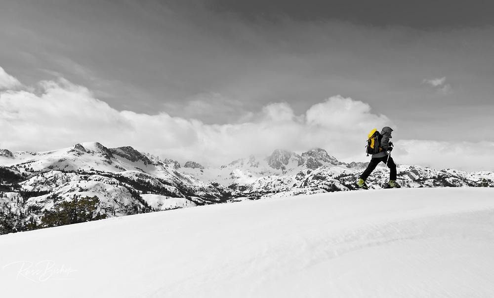Backcountry skier under Banner and Ritter Peaks, Ansel Adams Wilderness, Sierra Nevada Mountains, California USA