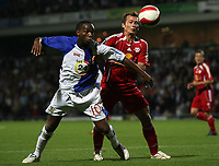 Photo: Paul Thomas.<br /> Blackburn Rovers v SV Red Bell. UEFA Cup. 28/09/2006.<br /> <br /> Benni McCarthy (L) of Blackburn fights with Vladimir Janocko for the ball.