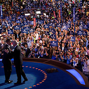 Sen. Barack Obama and Sen. Joe Biden acknowledge the crowd on the third day of the Democratic National Committee (DNC) Convention at the Pepsi Center in Denver, Colorado (CO) Wednesday, Aug. 27, 2008.  ..Photo by Khue Bui