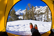 Winter camp view, John Muir Wilderness, Sierra Nevada Mountains, California USA