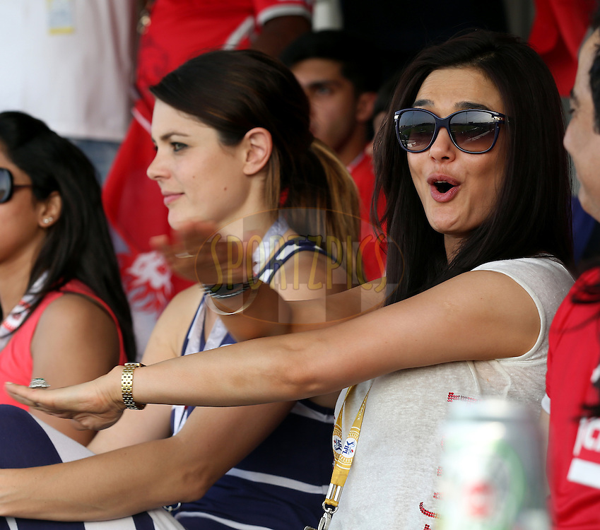 Preity Zinta owner of Kings XI Punjab during match 3 of the Pepsi Indian Premier League Season 7 between the Chennai Superkings and the Kings X1 Punjab held at the Al Zayed Cricket Stadium, Abu Dhabi, United Arab Emirates on the 18th April 2014<br /> <br /> Photo by Sandeep Shetty / IPL / SPORTZPICS
