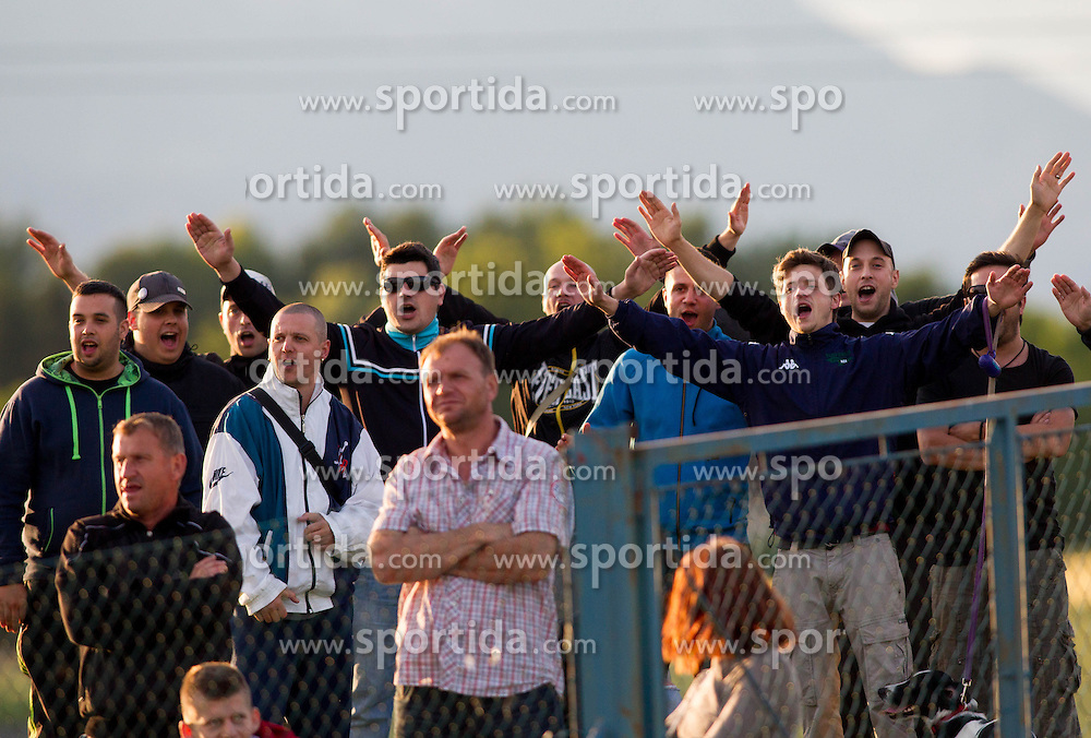 Supporters of Triglav during Friendly football match between NK Triglav and HNK Rijeka on June 25, 2013 in Sports park Kranj, Slovenia. (Photo by Vid Ponikvar / Sportida.com)