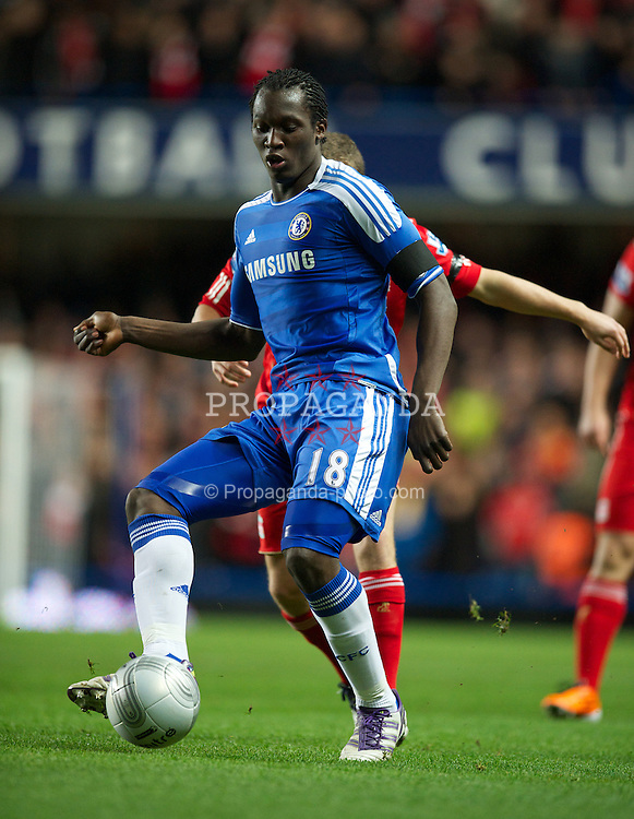 LONDON, ENGLAND - Tuesday, November 29, 2011: Chelsea's Romelu Lukaku in action against Liverpool during the Football League Cup Quarter-Final match at Stamford Bridge. (Pic by David Rawcliffe/Propaganda)