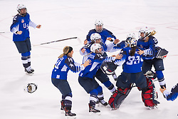 February 22, 2018 - Pyeongchang, South Korea - US Olympic Women'€™s hockey team members swarm goalie MADDIE ROONEY after she rejected a penalty shot to seal the win in their 3-2 overtime win over Canada in the Women's Gold Medal Ice Hockey game Thursday, February 22, 2018 at Gangneung Hockey Centre at the Pyeongchang Winter Olympic Games. Photo by Mark Reis, ZUMA Press/The Gazette (Credit Image: © Mark Reis via ZUMA Wire)