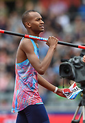 Mutaz Essa Barshim of Qatar during the Men's High Jump celebrates  a World Lead and Meeting Record of 2.4m  by taking the pole during the Muller Grand Prix Birmingham 2017 at the Alexander Stadium, Birmingham, United Kingdom on 20 August 2017. Photo by Martin Cole.