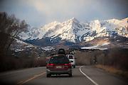 Driving towards the Sneffels Range in the San Juan Mountains, Colorado.