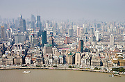 Shanghai skyline including the Bund embankment, China