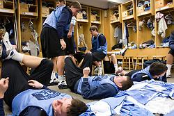 14 April 2008: North Carolina Tar Heels men's lacrosse defenseman Kerry McCormick (41)  and midfielder Joe Howard (30) during a practice day in Chapel Hill, NC.