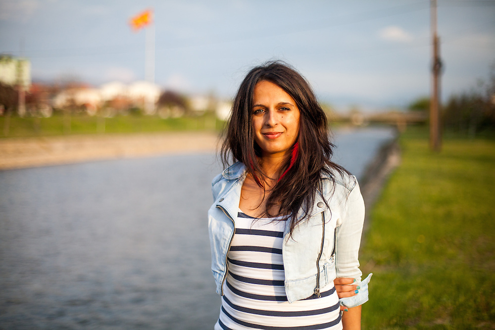 Portrait of Romina Kajtazova at the banks of river Bregalnica. Romina is working as a paralegal for the NGO Kham in the city of Delcevo located in Macedonia.
