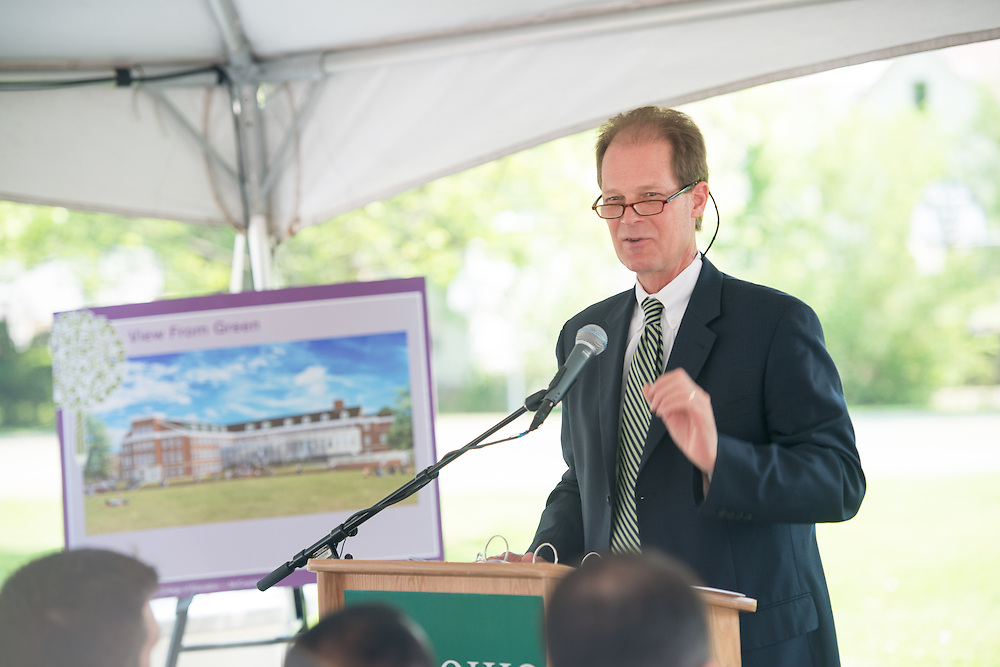 Bryan Benchoff, Vice President for Universioty Advancement, speaks at the groundbreaking ceremony for McCracken Hall. Photo by Ben Siegel/ Ohio University