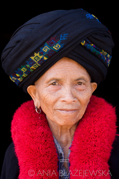 Laos, Muang Sing. Portrait of a Mien woman.