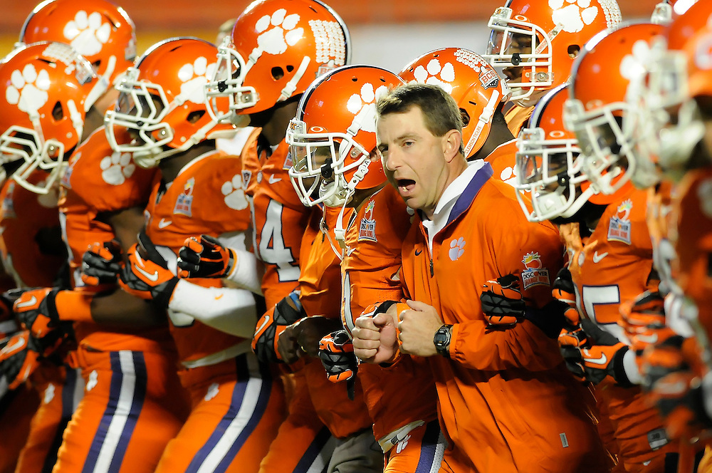 January 4, 2012: Head coach Dabo Swinney of Clemson in action before the NCAA football game between the West Virginia Mountaineers and the Clemson Tigers at the 2012 Discover Orange Bowl at Sun Life Stadium in Miami Gardens, Florida.