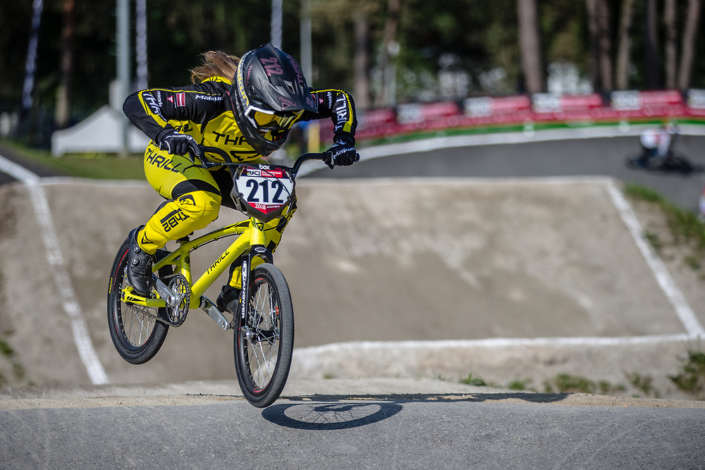 #212 (PETERSONE Vineta) LAT during practice at Round 5 of the 2018 UCI BMX Superscross World Cup in Zolder, Belgium