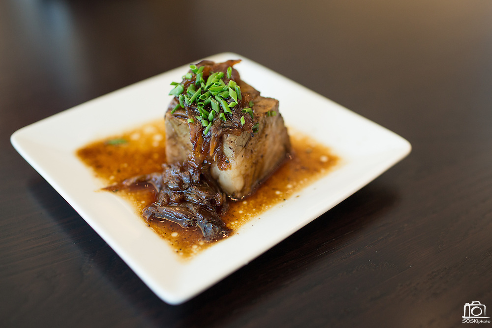 Beef short ribs are served in the Citrix Owners Club during the Levi's Stadium Art Collection grand opening event at Levi's Stadium in Santa Clara, California, on August 1, 2014. (Stan Olszewski/SOSKIphoto)