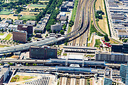 Nederland, Noord-Holland, Amsterdam, 29-06-2018; Westpoort, Sloterdijk, omgeving Station Sloterdijk met West-Randweg A5, Hemboog, Basisweg.<br /> Surroundings Sloterdijk Station.<br /> <br /> luchtfoto (toeslag op standard tarieven);<br /> aerial photo (additional fee required);<br /> copyright foto/photo Siebe Swart