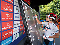 Nicole HANSELMANN (SUI) Cervelo-Bigla Pro Cycling Team signs the signature board ahead of The Prudential RideLondon Classique. Saturday 28th July 2018<br /> <br /> Photo: Bob Martin for Prudential RideLondon<br /> <br /> Prudential RideLondon is the world's greatest festival of cycling, involving 100,000+ cyclists - from Olympic champions to a free family fun ride - riding in events over closed roads in London and Surrey over the weekend of 28th and 29th July 2018<br /> <br /> See www.PrudentialRideLondon.co.uk for more.<br /> <br /> For further information: media@londonmarathonevents.co.uk